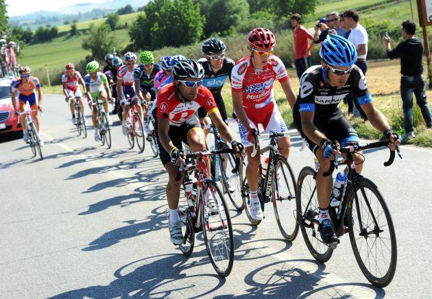 Christophe Le Mevel and Tiago Machado in escape, Giro d'Italia 2011, stage 11