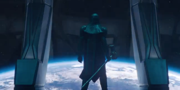 Ronan the Accuser looks out on Earth from a starship