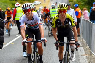 South African road race champion Daryl Impey and Mitchelton-Scott teammate Simon Yates at the finish of stage 3 of the 2020 Tour Down Under at Paracombe