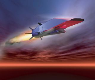 illustration of Air Force's hypersonic waverider called the X-51A.