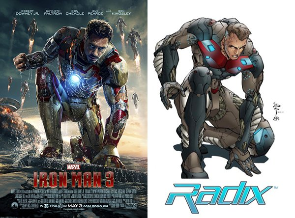 The Iron Man 3 poster and Radix drawing