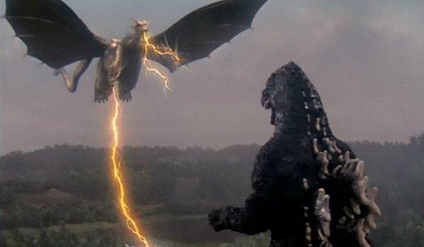 Godzilla vs. King Ghidorah Ghidorah flies in with its lighting attack, towards Godzilla