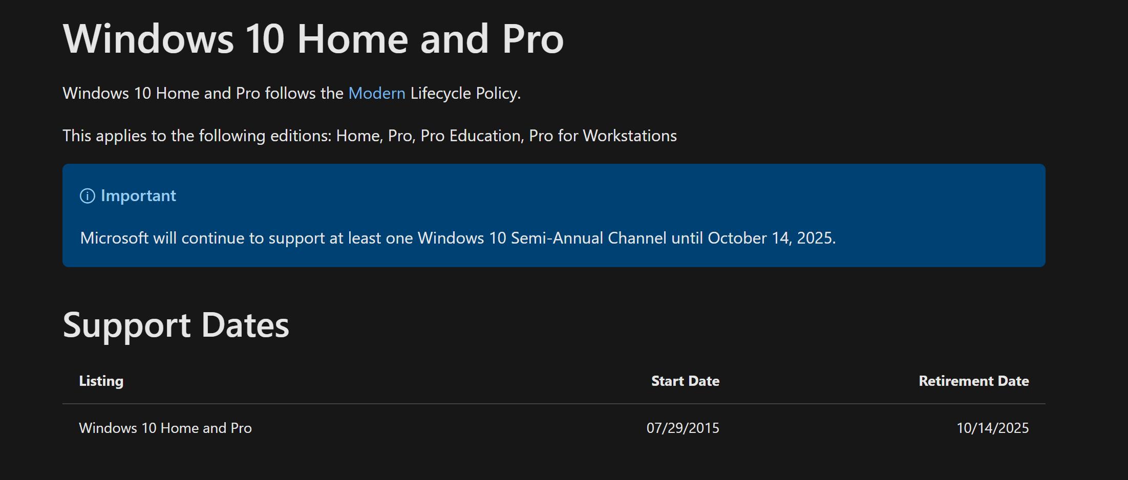 Screenshot showing Windows 10's retirement date