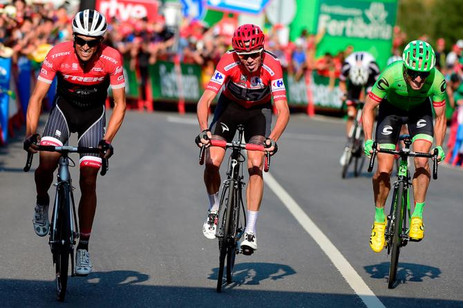 Chris Froome, Alberto Contador and Mike Woods finishes stage 18 at the Vuelta