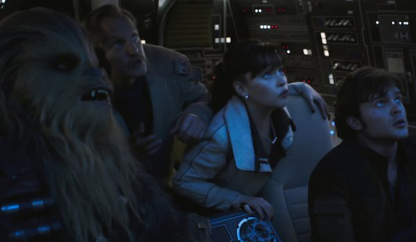 Solo: A Star Wars Story Chewie, Beckett, Qi'ra, and Han stare up at the Maw as they pilot through it