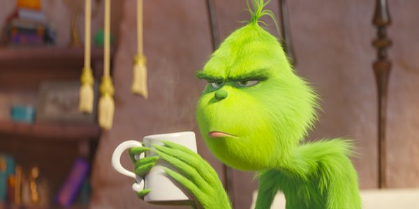 The Grinch holding a coffee cup and looking grinchy