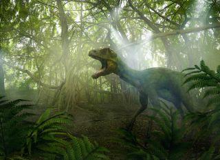 Dinosaur roaring in forest