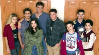 Some of the cast of 'Freaks and Geeks' stand in front of school lockers.