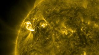 This still from a NASA video shows the sun as it unleashed a major solar flare overnight on March 4 and 5, 2012. The solar storm was an X1.1-class flare, the strongest type of solar eruption, and ejected a huge cloud of plasma into space.