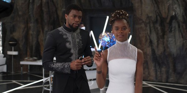 Chadwick Boseman and Letitia Wright in Black Panther
