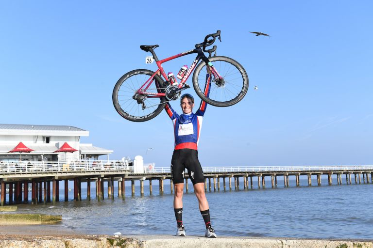 Demi Vollering in Felixstowe after claiming victory in the 2021 AJ Bell Women's Tour