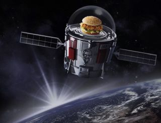 An animation from Kentucky Fried Chicken as part of its ad campaign that involves sending a chicken sandwich to the edge of space.