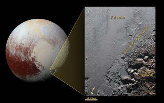 Pluto's surface between Sputnik Planum and Krun Macula