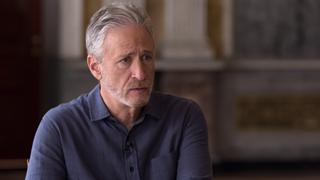 Jon Stewart mid-interview on The Problem with Jon Stewart