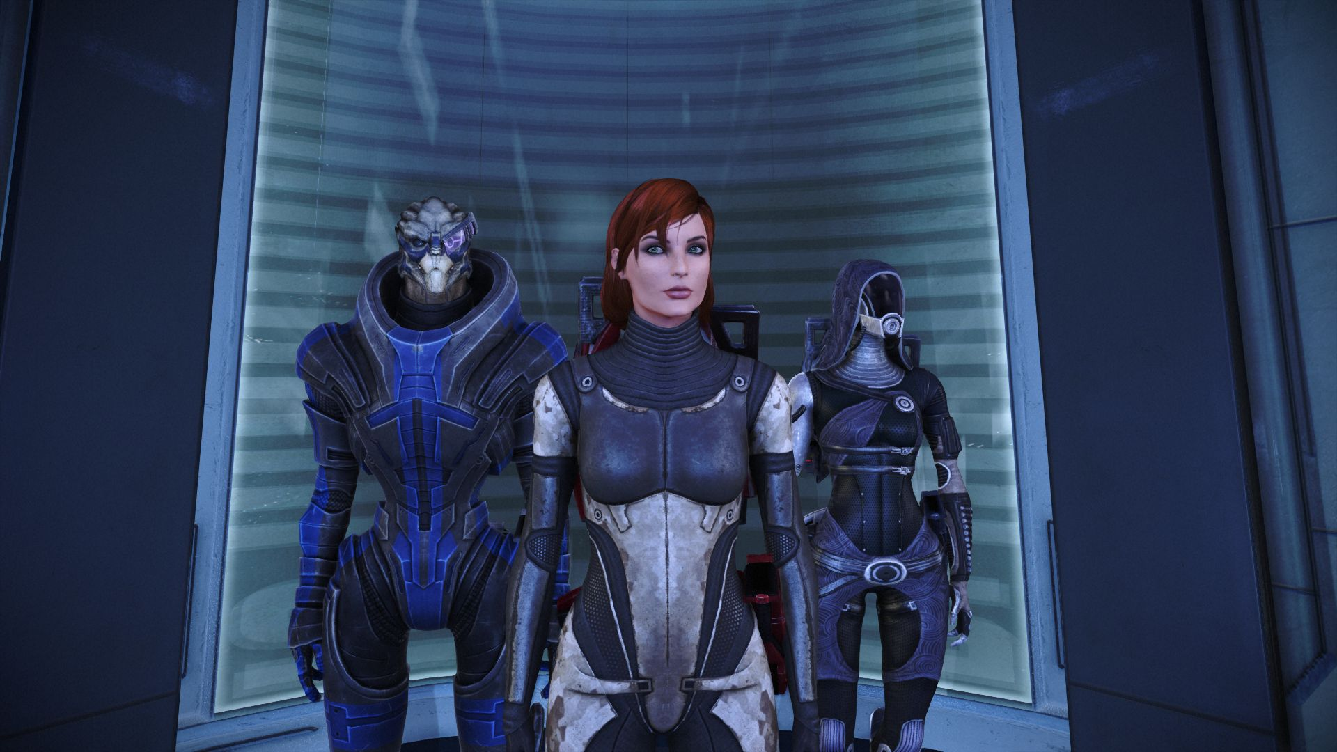 An elevator ride with Garrus and Tali