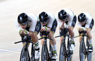 The Australian men's Team Pursuit​ members race in the final during the Brisbane UCI Track World Cup at the Anna Meares Velodrome in December