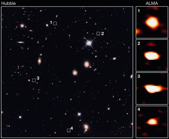 The newly discovered galaxies can't be seen in Hubble Space Telescope images but are visible to the ALMA instrument.