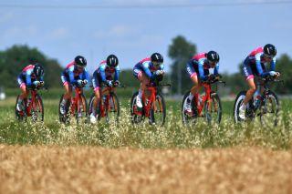 Bizkaia Durango racing the opening team time trial at the Giro d'Italia Donne