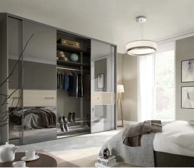 bedroom with spaceslide wardrobe from space slide