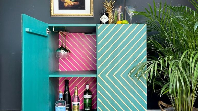 IKEA IVAR drinks cabinet hack with blue and pink features