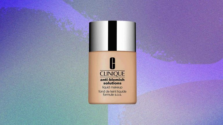 An image of Clinique Acne Solutions Liquid Makeup Foundation appears on a colorful background