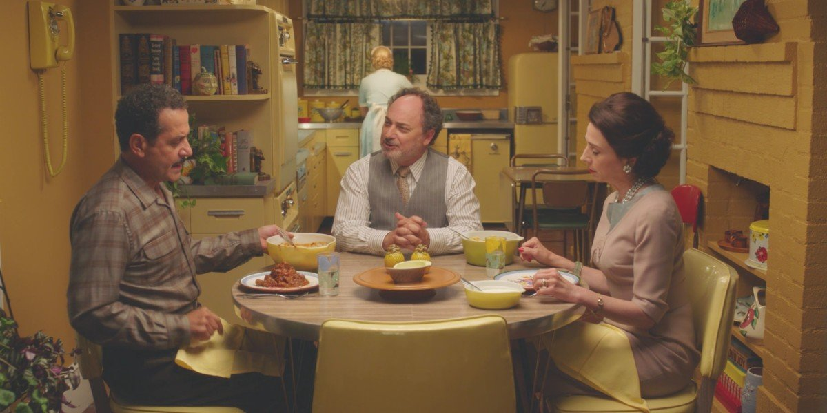 Tony Shaloub, Kevin Pollock, and Marin Hinkle in The Marvelous Mrs. Maisel