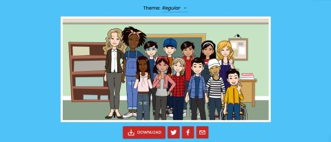 Cartoon showing classmates lined up with teachers