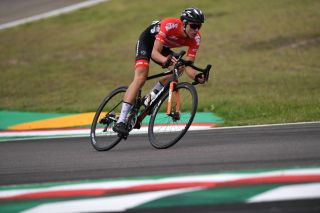 Tobias Bayer representing Austria in the elite men's road race at the 2020 World Championships in Imola, Italy