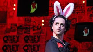 Billie Joe Armstrong performs during his final performance as 'St. Jimmy' and the closing night of Green Day's 'American Idiot' on Broadway at the St. James Theater on April 24, 2011 in New York City.