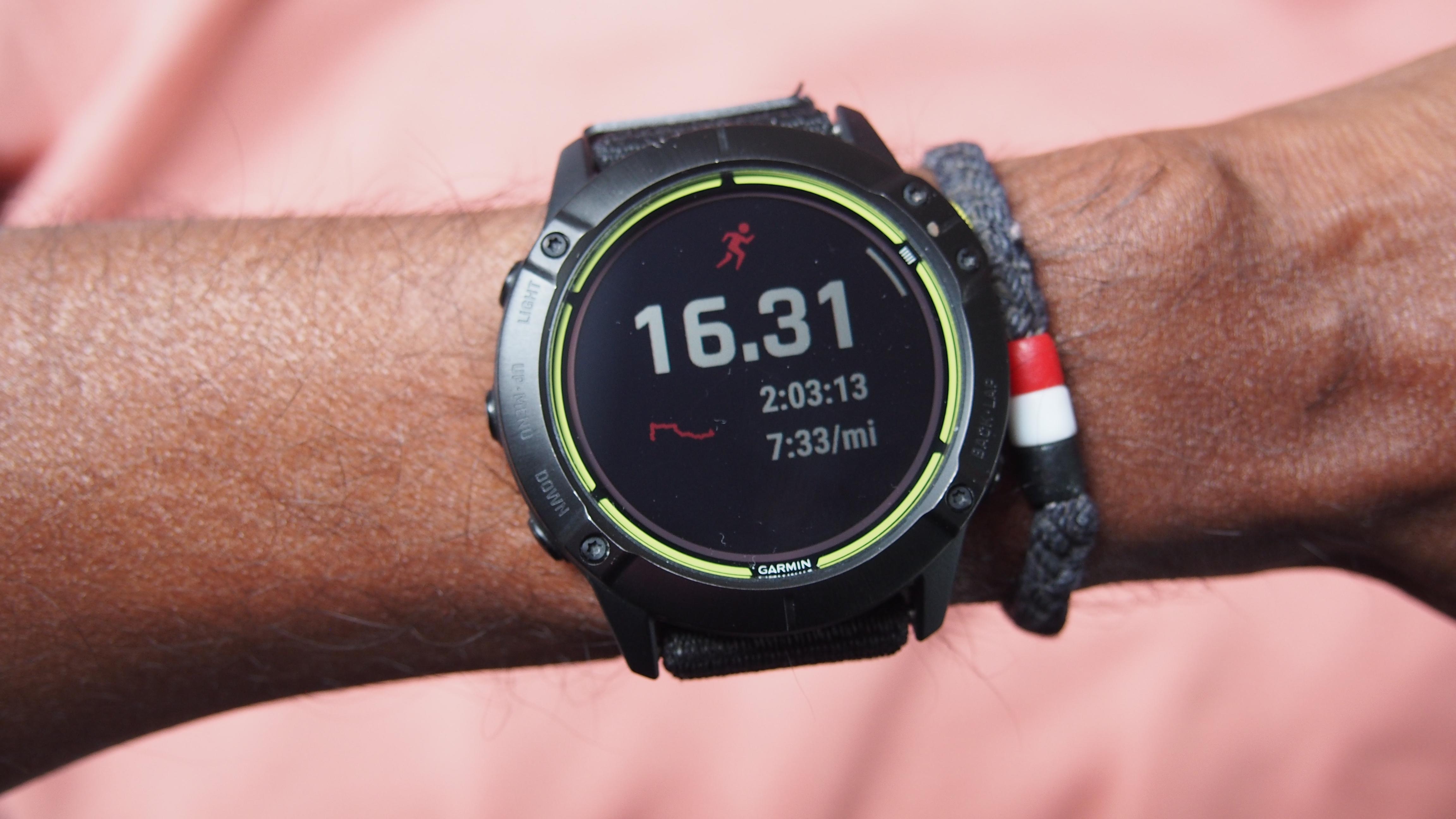 Garmin Enduro on man's wrist, showing post-workout data