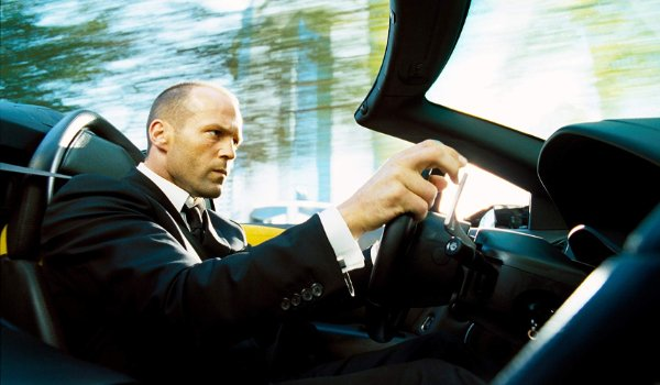 The Transporter 2 Frank Martin speeding down the road in his sports car