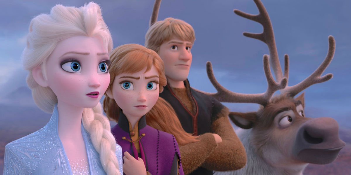Elsa, Anna, Kristoff and Sven looking into the distance.