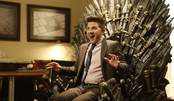Ben Wyatt sitting on his Iron Throne on Parks and Recreation