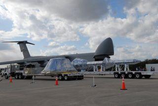 Mock Orion Spaceship Arrives at NASA Spaceport