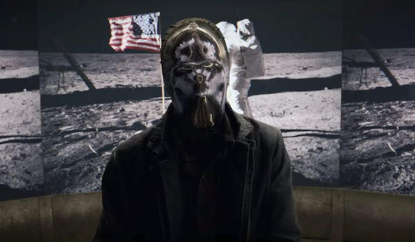 watchmen mask in front of moon landing hbo