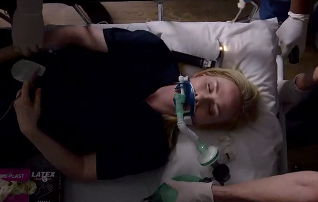 Holby City Jac Naylor grab
