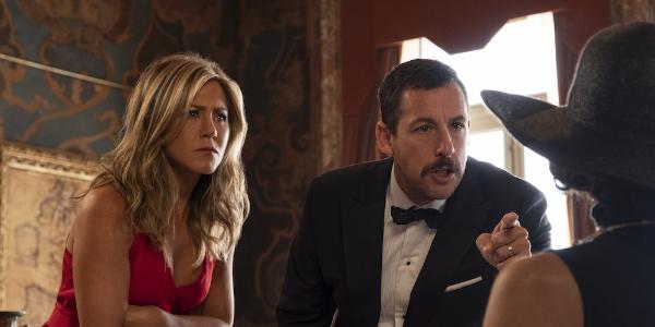 Murder Mystery Jennifer Aniston and Adam Sandler question a suspect