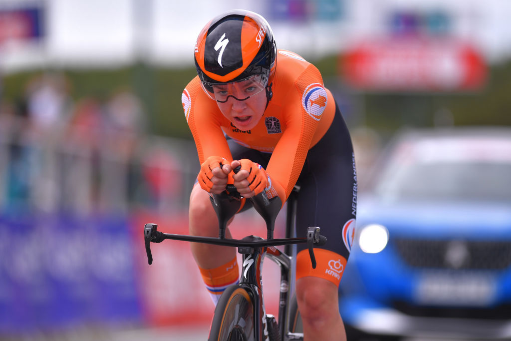 PLOUAY FRANCE AUGUST 24 Arrival Anna Van Der Breggen of Netherlands during the 26th UEC Road European Championships 2020 Womens Elite Individual Time Trial a 256km race from Plouay to Plouay ITT UECcycling EuroRoad20 on August 24 2020 in Plouay France Photo by Luc ClaessenGetty Images