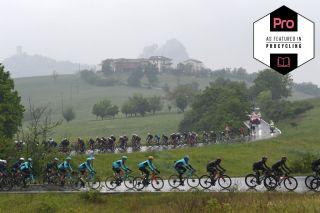 SESTOLA, ITALY - MAY 11: Aleksander Vlasov of Russia, Luis Leon Sanchez Gil of Spain, Gorka Izagirre Insausti of Spain and Team Astana – Premier Tech & The Peloton passing through La Stella (705m) during the 104th Giro d'Italia 2021, Stage 4 a 187km stage from Piacenza to Sestola 1020m / Rain / Landscape / @girodiitalia / #Giro / #UCIworldtour / on May 11, 2021 in Sestola, Italy. (Photo by Tim de Waele/Getty Images)