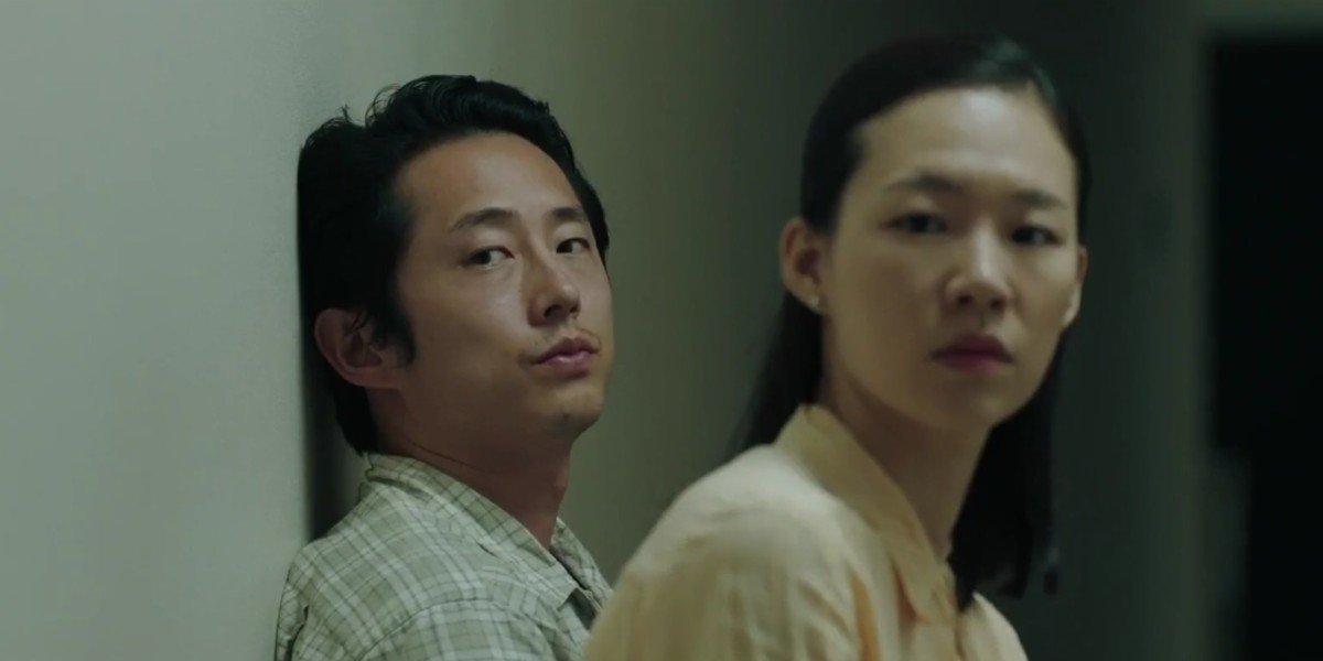 Yeri Han and Steven Yeun in Minari