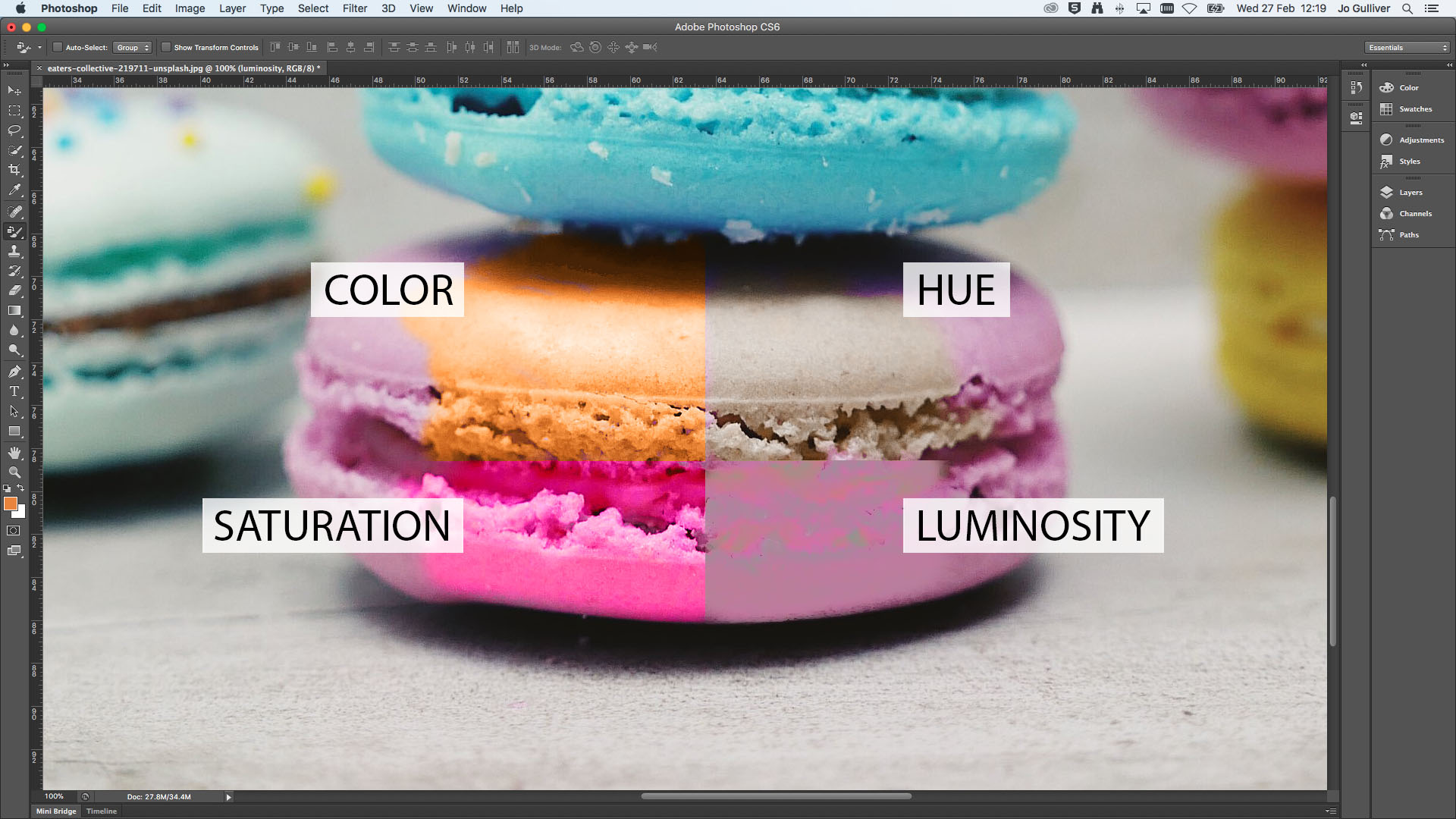 A macaroon demonstrating the color, saturation, hue and luminosity settings