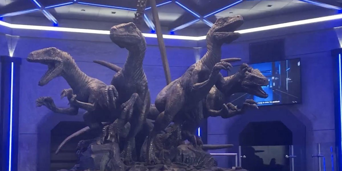 Four Raptors together inside the line queue for the VelociCoaster at Universal Orlando