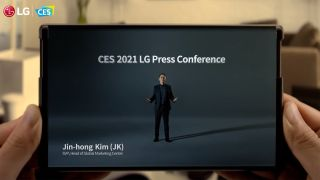 LG Rollable demo during CES 2021 press conference