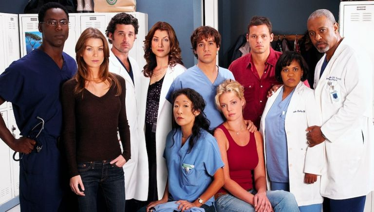 """GREY'S ANATOMY - (Standing) Isaiah Washington as """"Dr. Preston Burke,"""" Ellen Pompeo as """"Meredith Grey,"""" Patrick Dempsey as """"Dr. Derek Shepherd,"""" Kate Walsh as """"Dr. Addison Shepherd,"""" T.R. Knight as """"George O'Malley,"""" Justin Chambers as """"Alex Karev,"""" Chandra Wilson as """"Miranda Bailey,"""" James Pickens, Jr. as """"Dr. Richard Webber,"""" (Sitting) Sandra Oh as """"Cristina Yang"""" and Katherine Heigl as """"Isobel 'Izzie' Stevens"""" star on """"Grey's Anatomy"""" on the Disney General Entertainment Content via Getty Images Television Network, Addison Grey's Anatomy"""