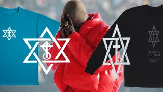 Two shirt designs and logos on a backdrop of kanye west holding his head in his hands.