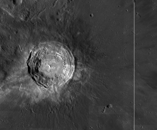 This photo taken by NASA's Lunar Reconnaissance Orbiter (LRO) shows high sunlight reflecting off the moon's Aristarchus crater.