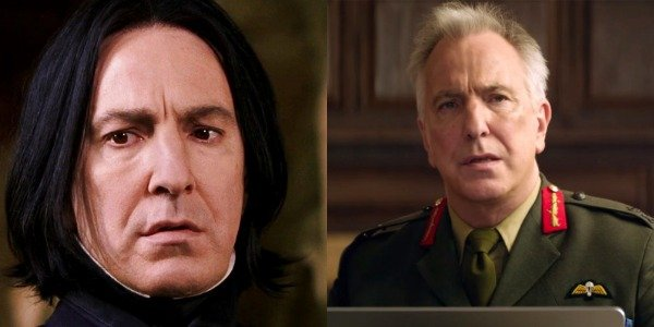 Alan Rickman as Severus Snape in Harry Potter and as Lieutenant General Frank Benson in Eye In the S