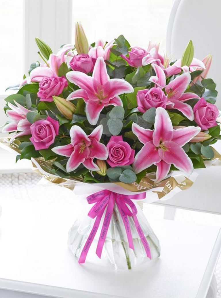 Pink Rose and Lily Hand Tied Bouqet, £39.99, Interflora