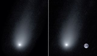 Left: A new image of the interstellar Comet 2l/Borisov. Right: A composite image of the comet with a photo of the Earth to show scale.