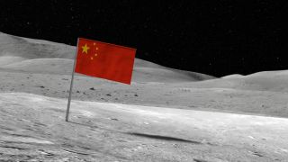 A Chinese flag on the surface of the moon.